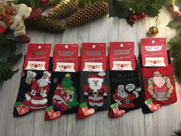 Śmieszne świąteczne skarpetki męskie na prezent