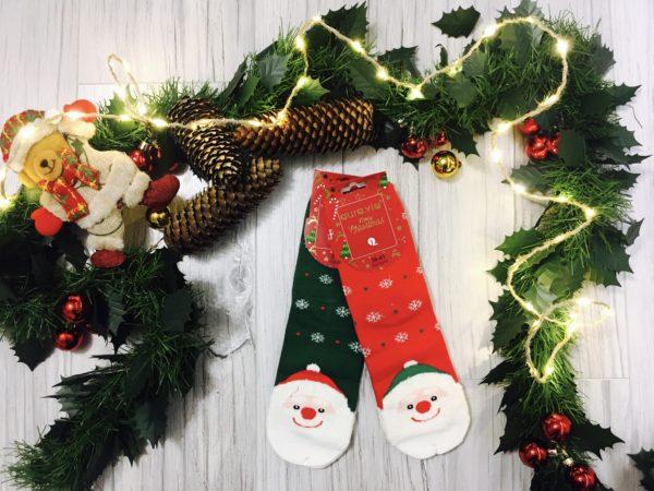 Świąteczne skarpetki damskie ze Świętym Mikołajem