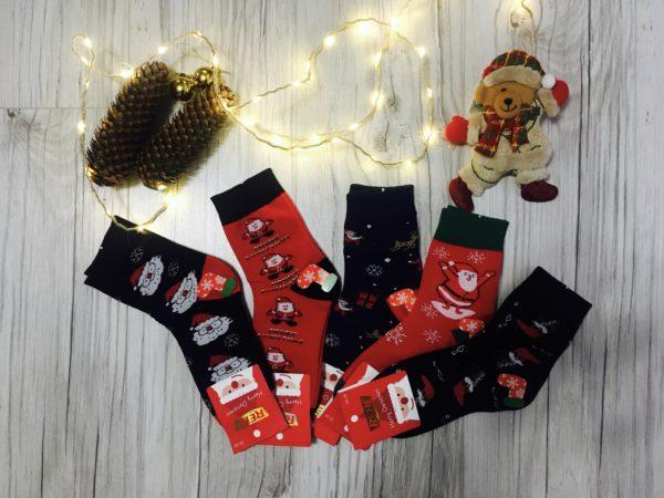 Skarpetki świąteczne damskie ze Świętymi Mikołajami