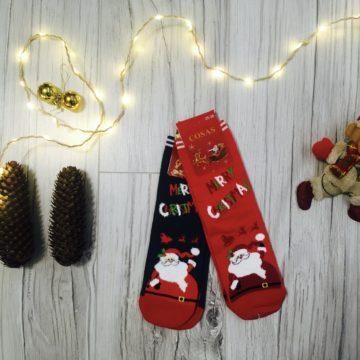 Skarpetki damskie świąteczne ze Świętym Mikołajem