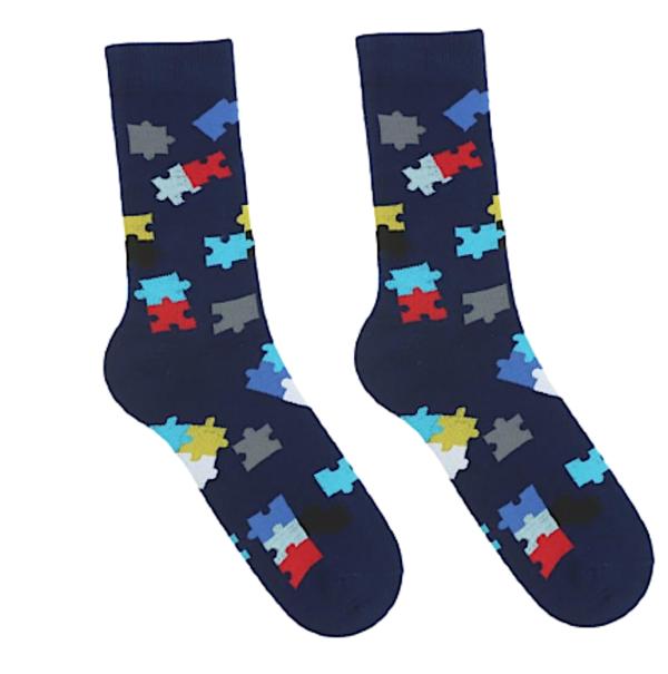 Kolorowe skarpetki męskie w puzzle