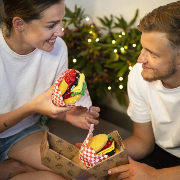 Skarpetki męskie hamburger w kartoniku